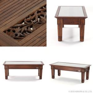アジアン家具 センターテーブル おしゃれ リビング ローテーブル 机 チーク無垢 木製 アクビィ ACT018KA|landmark|03