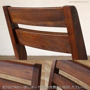 アジアン家具  ダイニングチェアー 合成皮革 チーク無垢 木製 おしゃれ 北欧 椅子 いす C340KA|landmark|03