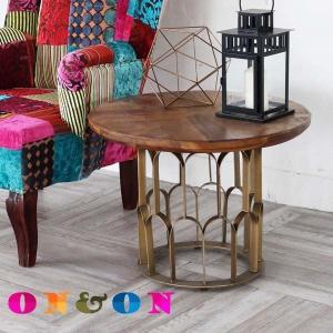サイドテーブル おしゃれ 木製 真鍮 丸い 丸型 花台 北欧 カフェ風 アンティーク クラシック ヴィンテージ調 ナチュラル ON&ON DVT060DM|landmark
