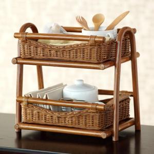アジアン家具 雑貨 バリ 小物入れ 収納 ラック 調味料ラック 籐 ラタン 木製 F530HR|landmark