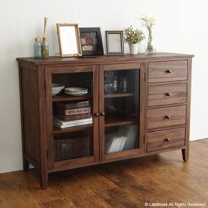 アジアン家具 キャビネット サイドボード おしゃれ 収納  棚 チーク 無垢 木製 北欧 カフェ G321KAの写真