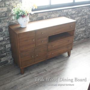 アジアン家具 キッチンボード サイドボード ダイニングボード チーク無垢木製 ナチュラル 幅115cm G695KA 開梱設置便の写真