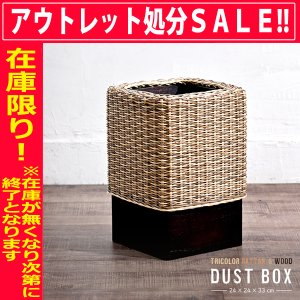 ラタンと天然木のおしゃれなゴミ箱ダストボックス