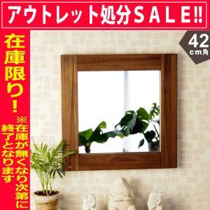 アジアン家具 雑貨 鏡 壁掛け ミラー チーク 無垢 木製 おしゃれ バリ M042SKA|landmark
