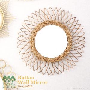 ウォールミラー 鏡 壁掛け 籐 ラタン おしゃれ アンティーク調 北欧 ヨーロピアン 太陽型 Q16306ME