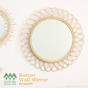ウォールミラー 鏡 壁掛け 籐 ラタン おしゃれ アンティーク調 北欧 ヨーロピアン 花型 Q17454ND|landmark