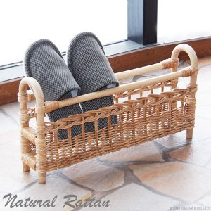 スリッパラック スリッパ立て スタンド おしゃれ ラタン 籐 木製 北欧 玄関収納 ナチュラル R483MEの写真