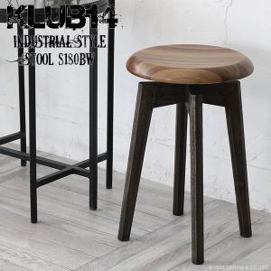 インダストリアル家具 スツール 椅子 木製 チーク無垢材 おしゃれ 北欧 玄関 丸型 チェア KLUB14 ナチュラル ヴィンテージ調 S180BW|landmark