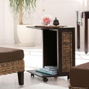 アジアン家具 エスニック サイドテーブル リビングワゴン 机 バナナリーフ 木製 T014AT|landmark