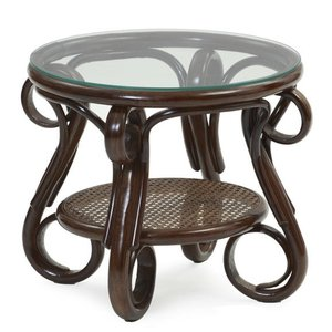 サイドテーブル ナイトテーブル 机 ガラス 籐 ラタン 木製...