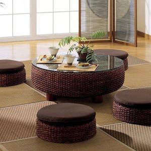 アジアン家具 ローテーブル おしゃれ ガラス ウォーターヒヤシンス T2529の画像
