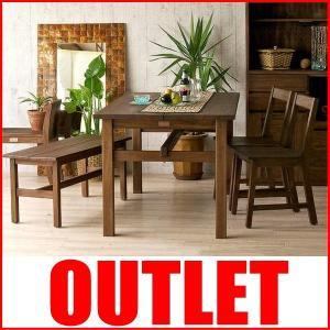アウトレット アジアン家具 ダイニングテーブルセット ベンチ 4人用 4点 チーク無垢 木製 カフェ T41K310B landmark