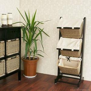 3段ラック 収納ボックス 木製 安い インテリア アジアン家具 ラタン 籐