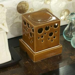 アジアン雑貨 バリ タバナン焼 アロマポット ブラウン セラミック オイルバーナー  z020103b|landmark