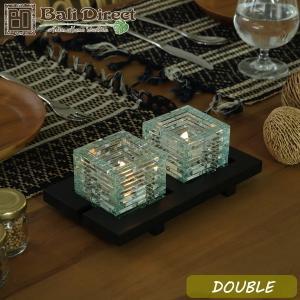 アジアン雑貨 バリ キャンドルホルダー ガラス グラス スタンド 2灯  z020202a|landmark