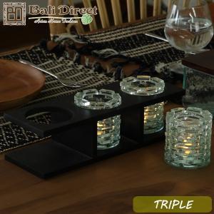アジアン雑貨 バリ キャンドルホルダー ガラス グラス ロウソク スタンド トリプル z020203a|landmark