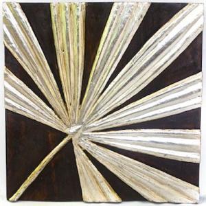 アジアン雑貨 バリ 木製レリーフ オブジェ 壁掛け ファンパーム シルバー z090201a|landmark