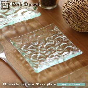 アジアン雑貨  プルメリア フランジパニ ガラスプレート キャンドルプレート S z130201b|landmark
