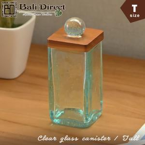 アジアン雑貨 バリ ガラスケース コットンボックス クリアガラス ロング z140103b|landmark