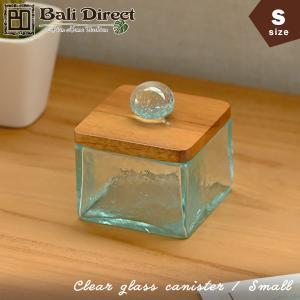 アジアン雑貨 バリ ガラスケース コットンボックス クリアガラス フタ付き S z140202b|landmark