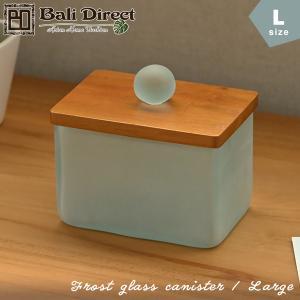 アジアン雑貨 バリ コットンケース ボックス 綿棒入れ 小物入れ 収納 ガラス Lタイプ  z140203b|landmark