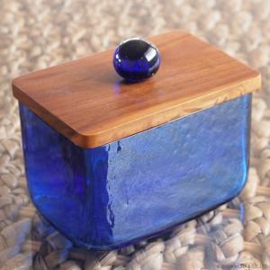 アジアン雑貨 バリ ガラスケース コットンケース クリアガラス キャニスター Lサイズ Z140403Lの写真