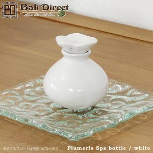 アジアン雑貨 バリ プルメリアのスパボトル ホワイト タバナン焼 陶器 フランジパニ z230101a|landmark