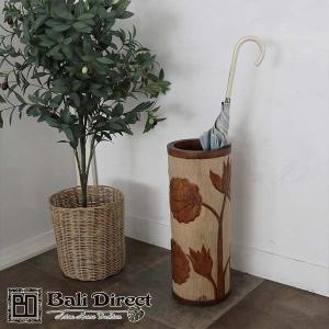 アジアン雑貨 バリ 傘立て 木製 おしゃれ スリム ロータス z910803a|landmark