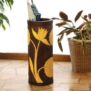 アジアン雑貨 バリ 傘立て おしゃれ 木製 スリム ロータス イエロー z910804a|landmark