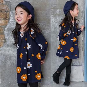 子供服 女の子 通販 ワンピース 花柄 フラワー 長袖 韓国 おしゃれ キッズ 可愛い 子ども服 お出かけ