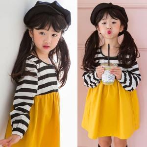 子供服 女の子 通販 ワンピース ボーダー 長袖 バイカラー 韓国 おしゃれ キッズ 可愛い 子ども服 お出かけ