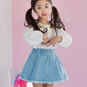 韓国子供服 女の子 通販 スカート デニム ウエストゴム お...