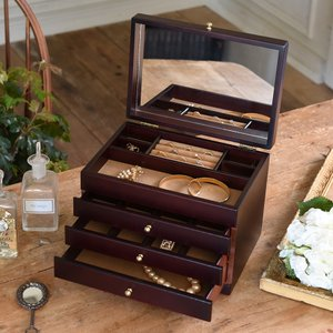 ジュエリーボックス 大容量 木製 ジュエルケース 日本製 木製ジュエルケース(三ツ引) |lapin-happy-jewelry