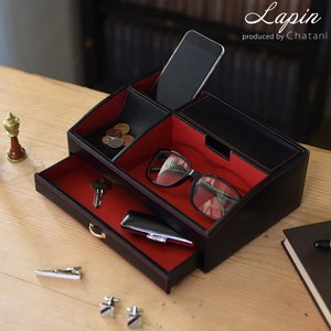 レザートレイ オーバーナイター レッド 革 小物入れ 父の日 レッド ブラック メンズ 収納|lapin-happy-jewelry