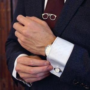 ネクタイピン&カフス セット メガネ 腕時計 おしゃれ ユニーク プレゼント ゴルフ 父の日|lapin-happy-jewelry