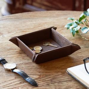 小物入れ ボタントレー(ブラウン) トレー レザー 父の日|lapin-happy-jewelry