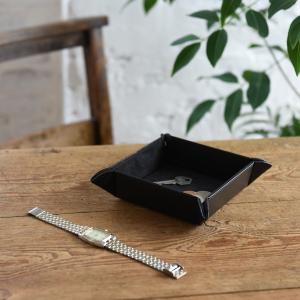 小物入れ ボタントレー(ブラック) トレー レザー 父の日|lapin-happy-jewelry