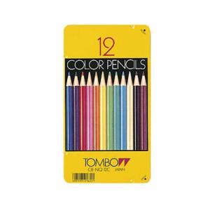 トンボ鉛筆  缶入り色鉛筆12色NQ|lapiz