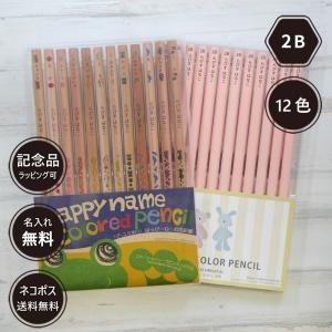 名入れ 鉛筆 パステルカラー鉛筆  2B はっぴーねーむ色鉛筆 12色 (色鉛筆セット) 卒園 記念品 オリジナル えんぴつ ブルー ピンク|lapiz