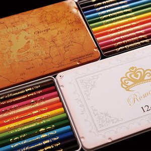 LIRICO・三菱鉛筆 メール便送料無料 名入れ対象商品 ロマンティック色鉛筆/ロデオ色鉛筆 丸軸・12色入り・缶ケース入り 名入れ無料|lapiz