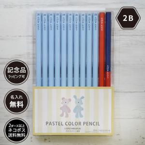 名入れ 鉛筆 パステルカラー鉛筆  2B (赤鉛筆セット) 朱色 卒園 記念品 オリジナル えんぴつ ブルー ピンク|lapiz