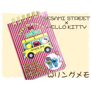 HELLO KITTY×SESAME STREET WリングメモA7 バスR lapiz