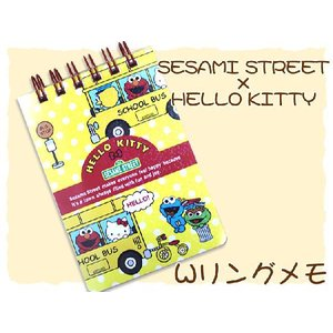 HELLO KITTY×SESAME STREET WリングメモA7 バスY lapiz