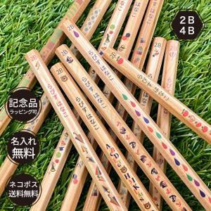 鉛筆 名入れ ウッディねーむ鉛筆 2B HB 4B 卒園 記念品 オリジナル えんぴつ 木目 ウッド