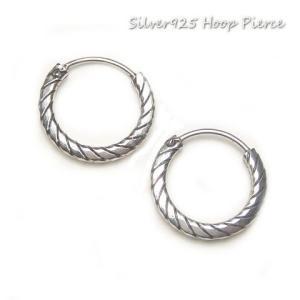 シルバーピアス レディース シンプルな縞模様のフープピアス ループ ピアスリング(直径14mmタイプ)|laplateriashu