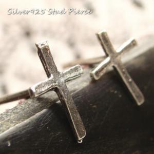シルバーピアス レディース シンプルで細めのクロス十字架のピアス|laplateriashu