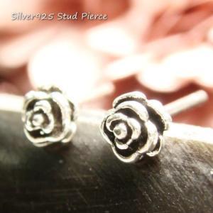 シルバーピアス レディース 小さい 薔薇 バラ ピアス (直径4mmタイプ)|laplateriashu