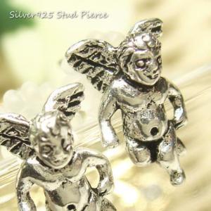 シルバーピアス レディース 立体的 羽根 天使 エンジェル スタッドピアス|laplateriashu