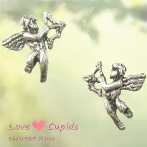 シルバーピアス レディース 恋のキューピット ヨーロッパの銅像 弓矢を持った天使のピアス|laplateriashu