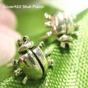 シルバーピアス レディース カナブン てんとう虫 6本足のムシさんピアス|laplateriashu
